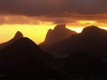 Заход солнца гор Рио Стоковое Фото