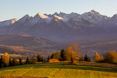 Заход солнца гор Tatra осени Стоковое Фото