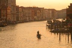 Заход солнца грандиозного канала Венеции стоковая фотография