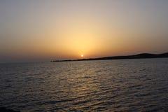 заход солнца Греции Стоковое Фото