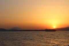 заход солнца Греции Стоковая Фотография