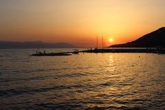 заход солнца Греции Стоковая Фотография RF