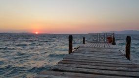 заход солнца Греции Стоковые Фотографии RF