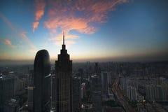 Заход солнца Гуанчжоу Стоковая Фотография