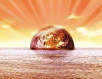 Заход солнца глобуса земли Стоковые Фотографии RF