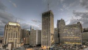 Заход солнца Детройта городской сток-видео