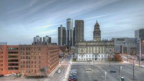 Заход солнца Детройта городской видеоматериал