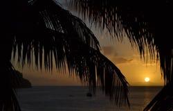 Заход солнца Доминики стоковая фотография rf
