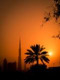 заход солнца Дубай стоковые фотографии rf