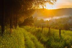 Заход солнца деревни Стоковые Изображения RF