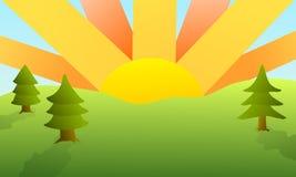 Заход солнца лета - ландшафт стоковые изображения