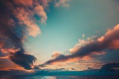 Заход солнца лета в Антарктике Стоковое Фото