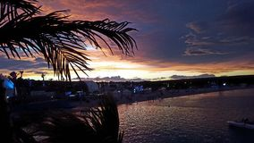 Заход солнца лета морем Стоковое Фото