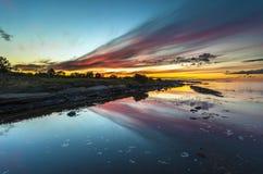 Заход солнца лета на белом море стоковая фотография rf