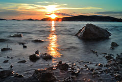 Заход солнца лета на seashore Стоковое фото RF