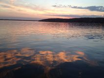 Заход солнца женевского озера Стоковые Изображения RF