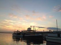 Заход солнца женевского озера Стоковое фото RF