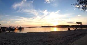 Заход солнца женевского озера Стоковая Фотография RF