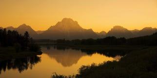 Заход солнца загиба Oxbow Стоковая Фотография