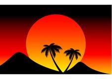 Заход солнца за горой Стоковое Изображение RF