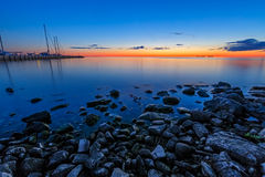 Заход солнца залива сестры Стоковая Фотография RF