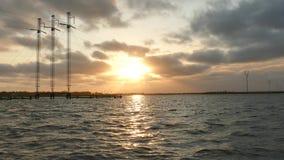 Заход солнца залива акции видеоматериалы