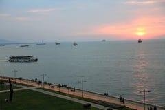 Заход солнца залива Izmir Стоковая Фотография RF