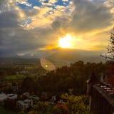 заход солнца Зальцбурга Стоковые Изображения RF