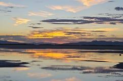 Заход солнца зеркала Стоковые Изображения