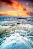 Заход солнца зимы в Квебеке (город) Стоковая Фотография
