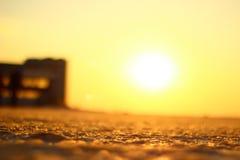 Заход солнца зимы или холодная пустыня Стоковые Фото