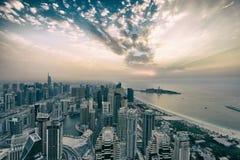 Заход солнца зимы Марины Дубай Стоковое Изображение