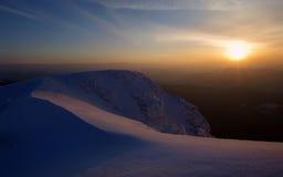 Заход солнца зимы стоковые изображения