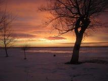 Заход солнца зимы над островом Мичиганом Grosse Стоковое фото RF