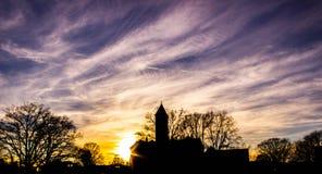 Заход солнца здания Tillman в Clemson Стоковые Изображения RF