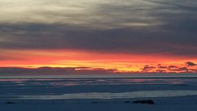 Заход солнца Исландии Стоковая Фотография RF