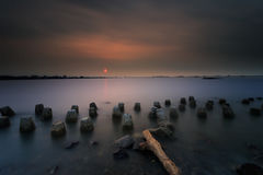 Заход солнца и восход солнца стоковое изображение