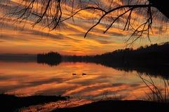 Заход солнца и влюбленность Стоковое Изображение RF