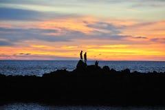 Заход солнца и море Стоковое фото RF