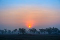 Заход солнца и небо облака Стоковое Фото