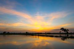 Заход солнца и небо облака Стоковые Фото