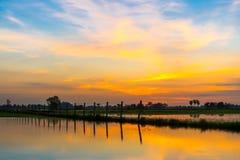Заход солнца и небо облака Стоковое Изображение