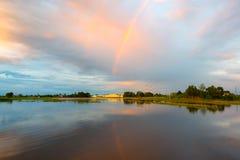 Заход солнца и небо облака Стоковая Фотография