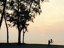 Заход солнца и пара Стоковые Изображения RF