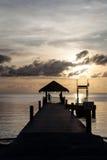 Заход солнца и пристань в Палау Стоковые Изображения RF