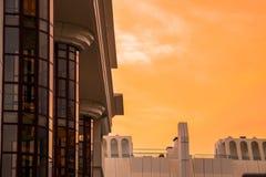 Заход солнца и стекло стоковая фотография rf