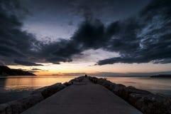 Заход солнца и Seascape Стоковые Изображения RF
