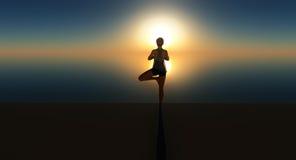 Заход солнца йоги Стоковое Фото