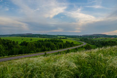Заход солнца кармазина лета Стоковая Фотография