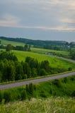 Заход солнца кармазина лета Стоковые Фотографии RF